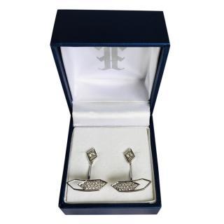 Ehthele 18kt White Gold Pave Diamond Double Earrings