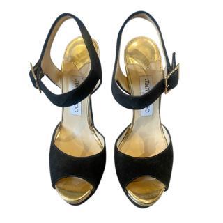 Jimmy Choo black & gold suede platform sandals
