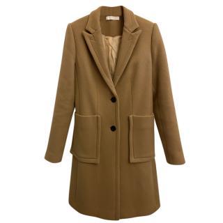 Chloe Camel Wool Single Breasted Longline Coat