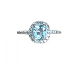 Bespoke White Gold Topaz & Diamond Cushion Cut Ring