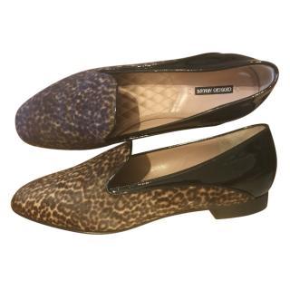 Giorgio Armani Animal Print/Patent Leather Loafers