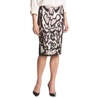 DVF Leopard Print Jersey Mae Mikado Skirt