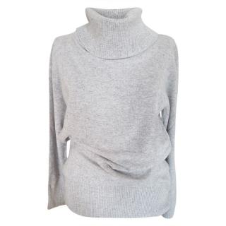 Max Mara Grey Virgin Wool & Cashmere Roll Neck Jumper