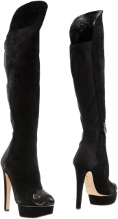 Charlotte Olympia Platform Suede Over Knee Boots