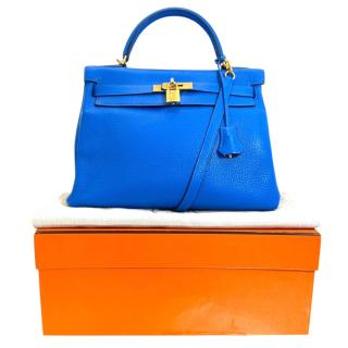 Hermes Evercolor Leather Blue Hydra Kelly Retourne 28 GHW