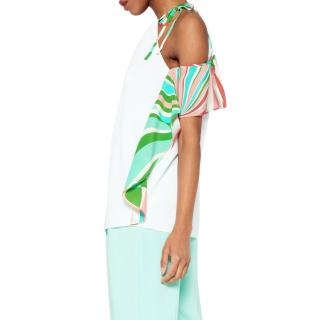 Emilio Pucci Frilled Cold-Shoulder Shell Print Top
