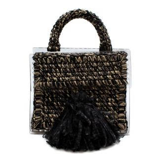 0711 Black & Gold Copacabana Woven Top Handle Bag
