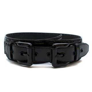 Burberry Black Patent Leather Double Buckle Belt - Size 75