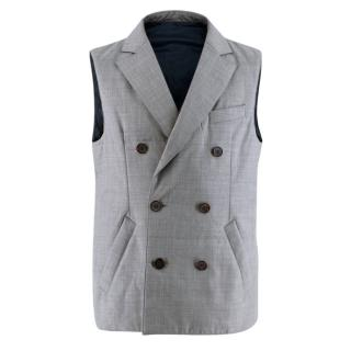 Suitsupply Grey Pure Wool Double Breasted Bodywarmer Vest