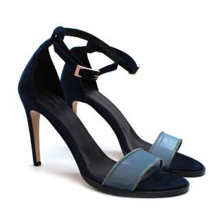 Dear Frances Blue Suede & Mesh Strappy Sandals