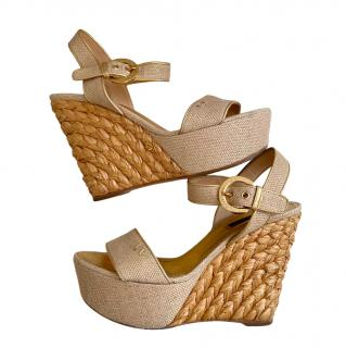 Louis Vuitton Raffia Wedge Sandals