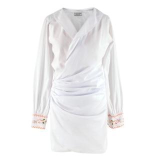 Sensi Studio White Cotton Embroidered Long-Sleeve Wrap Dress