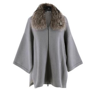 Brunello Cucinelli Grey Cashmere Knit Jacket with Raccoon Fur Collar
