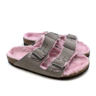 Birkenstock Arizona Shearling-lined Suede Sliders