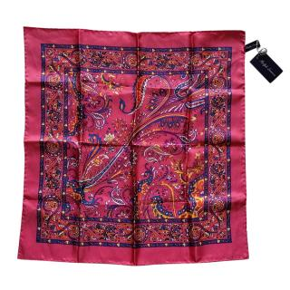 Ralph Lauren Purple Label Pink Paisley Print Pocket Square