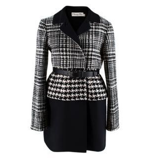 Dior Black & White Wool Blend Houndstooth Belted Coat