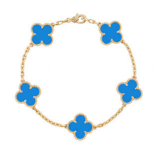 Van Cleef & Arpels Yellow Gold Vintage Agate Alhambra Bracelet