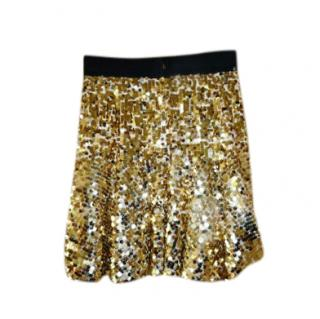 Dolce & Gabbana Gold Sequin Tulle Skirt