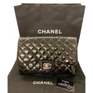 Chanel Black Patent Leather Jumbo Flap Bag