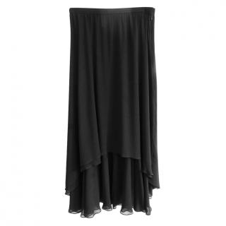 Yves Saint Laurent Black Vintage Chiffon Skirt