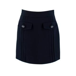 Prada Navy Virgin Wool Mini Skirt