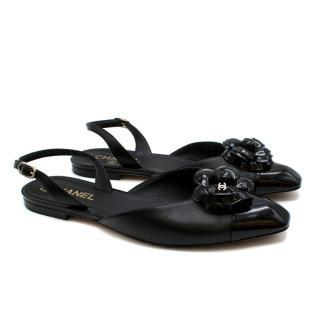 Chanel Black Camellia Embellished Leather Slingback Flats
