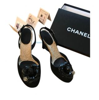 Chanel Black Patent Camellia Wedge Sandals