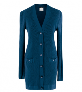 Chanel Blue Diamond Knit Longline Cardigan