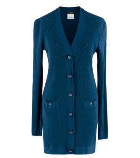 Chanel Blue Diamond Knit Longline Cardigan