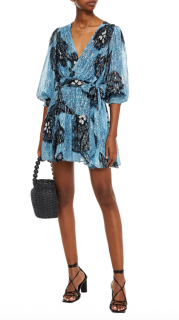 Ulla Johnson Blue Shimmer Noemi Silk-Blend Wrap Mini Dress