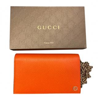Gucci Orange Grained Leather Wallet on Chain