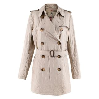 Burberry Beige Quilted Double-Breasted Belted Coat