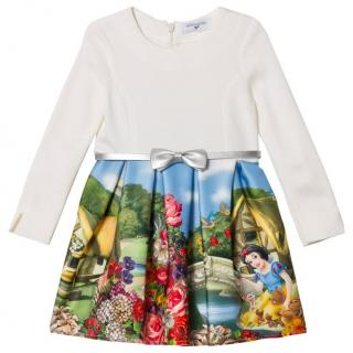 Monnalisa Cream Snow White Print Neoprene Dress