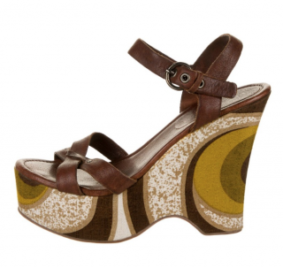 Miu Miu 70's Print Leather Wedge Sandals
