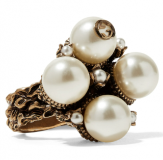 Gucci Gold-tone faux pearl ring