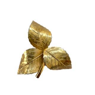 Christian Dior Vintage Gold Tone Leaf Brooch