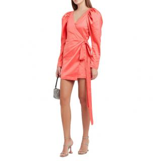Rotate Birger Christensen Satin Coral Puff Sleeve Wrap Dress
