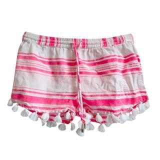 Sunuva Neon Striped Tassel Shorts