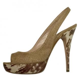 Miu Miu Raffia Slingback Sandals