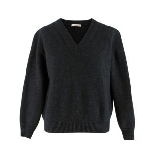 Prada Grey Cashmere Blend V Neck Sweater