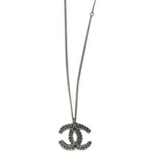 Chanel Ruthenium Crystal Embellished CC Necklace