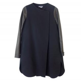 Vince Black Leather Sleeve Wool Blend Coat