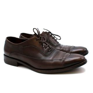 Salvatore Ferragamo Brown Leather Oxford Lace-Up Shoes