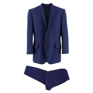 Richard James Blue Textured Cotton Single Breasted Suit