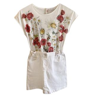 Dolce & Gabbana White Denim & Floral Cotton Dress