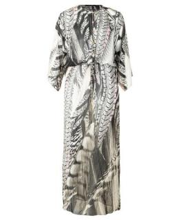 Roberto Cavalli Silk Feather Print Maxi Dress