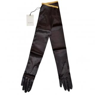 Gucci Black Long Satin Gloves with Contrast Trim