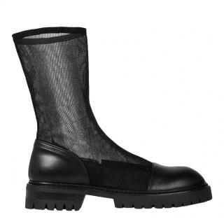 Ann Demeulemeester Black Stretch Mesh Leather Boots