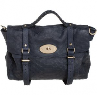 Mulberry Medium Navy Python Print Alexa Bag