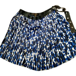 Louis Vuitton Blue, Black & White Pleated Mini Skirt